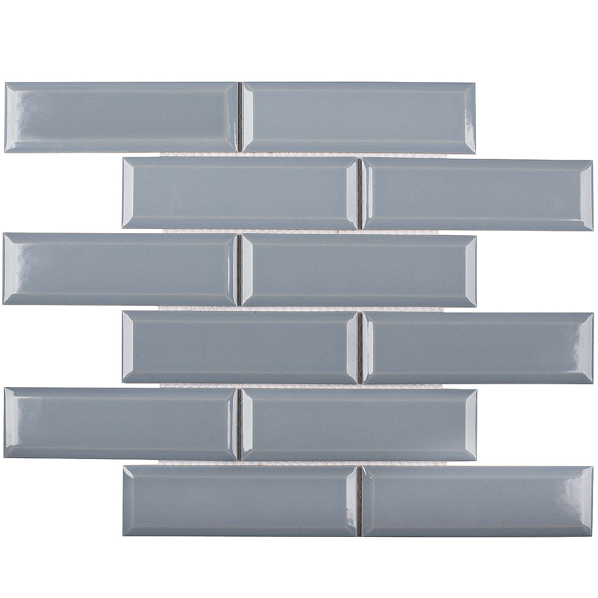 Керамическая мозаика Metro Bluish-Grey Glossy 45х145 (KM41843) на сетке 287х295х6,5 см из коллекции Brick & Metro.