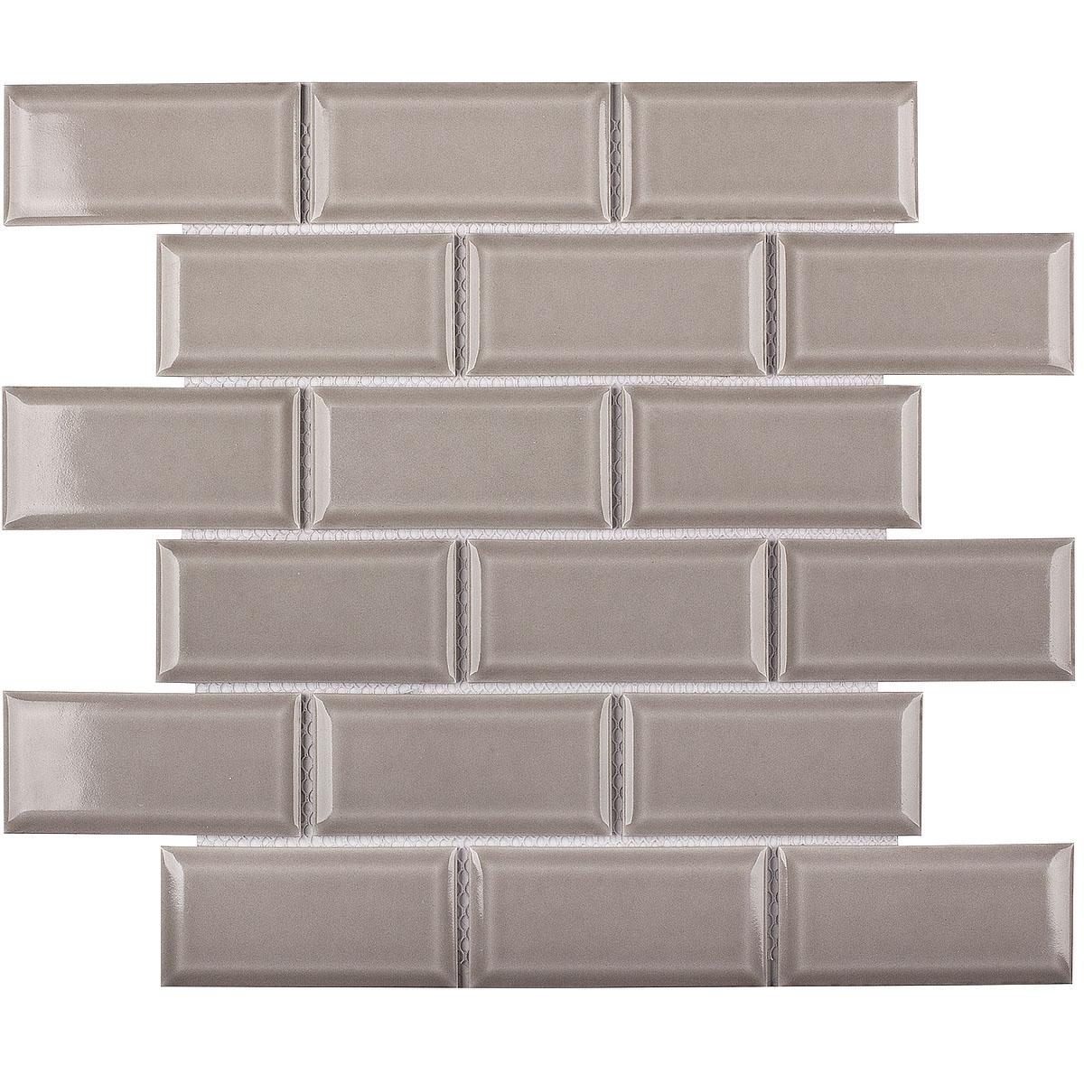 Керамическая мозаика Metro Grey Glossy 45х95 (AM81946) 291х295х6 на сетке из коллекции Brick & Metro.