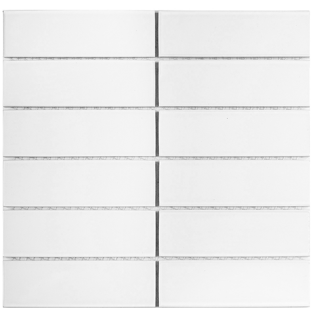 Керамическая мозаика 47x147 White Matt (V-VW56000) 300х300x6 на сетке из коллекции Brick & Metro.