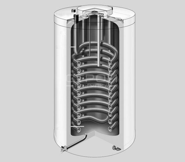 Подставной бойлер viessmann vitocell 100 вертикальный бак-водонагреватель в разрезе.