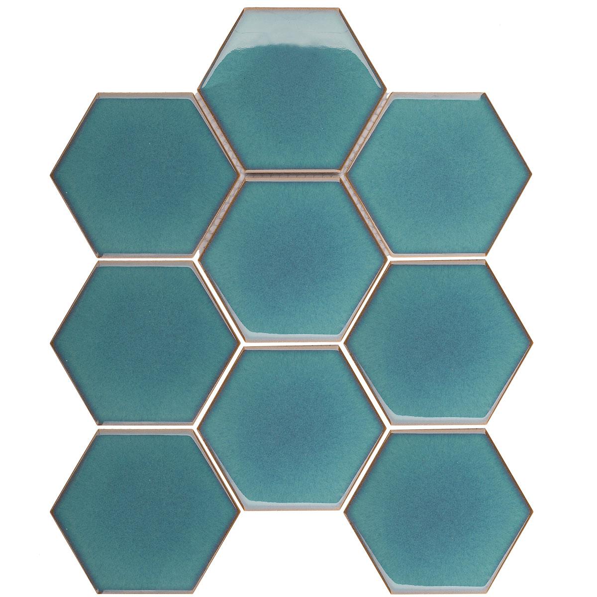 Керамическая мозаика Hexagon big Green Glossy (JJFQ80071) на сетке