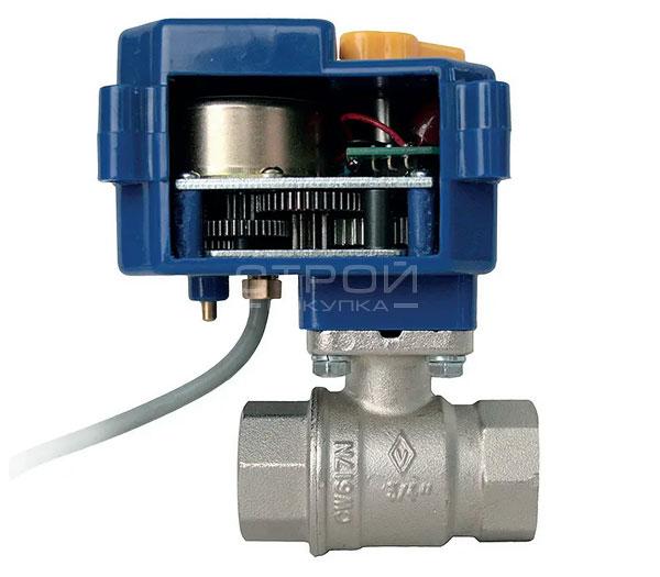 Кран с электроприводом Neptun Bugatti Pro 220В для автоматического перекрытия водопровода или газа в разрезе.