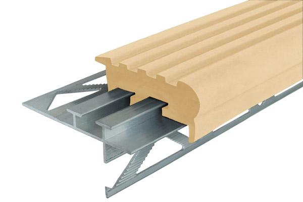 Профиль под плитку NEXT УШ50 с бежевой резиновой вставкой. Алюминиевый закладной профиль Уверенный шаг (УШ-50)