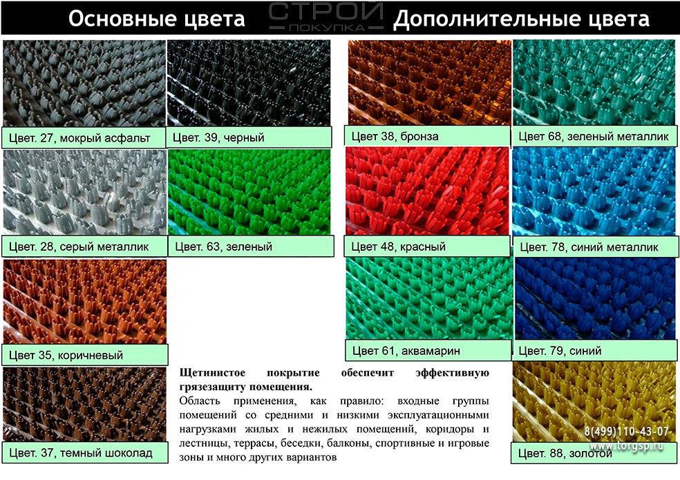Цветные грязезащитные щетинистые покрытия Стандарт 1,2-15м