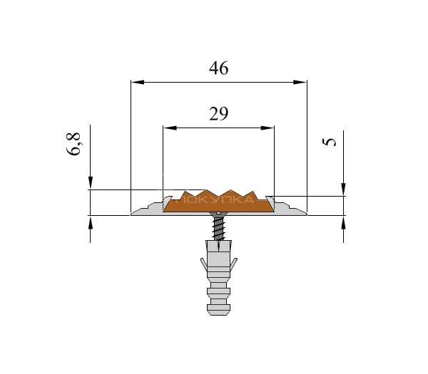 Схема расположения вставки 29 х 5,8 мм в алюминиевой полосе NEXT АП46.