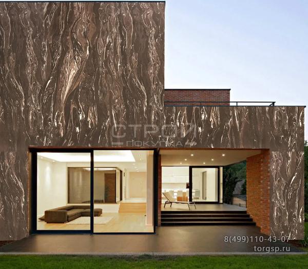 На фото фасад отделан термопанелями с гибким камнем Кофе 6.
