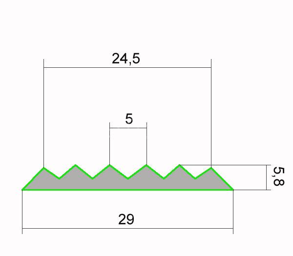 Схема вставки в алюминиевый угловой профиль Next ANU 42 29 х 5,8 мм.