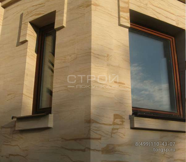 Янтарь 2 каменные обои в рулоне для фасада и цоколя.