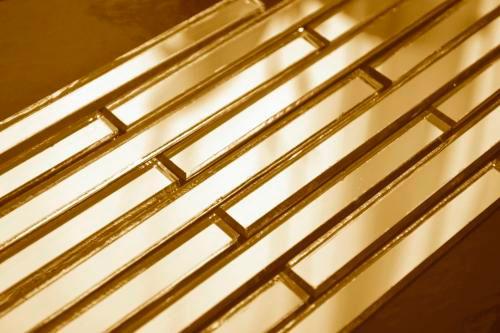 Золотая зеркальная мозаика G149-2 на сетке.
