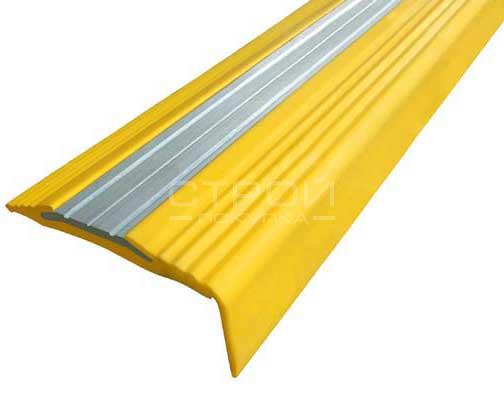 Угловой противоскользящий профиль — Next АНУ494, с желтой противоскользящей резиной.