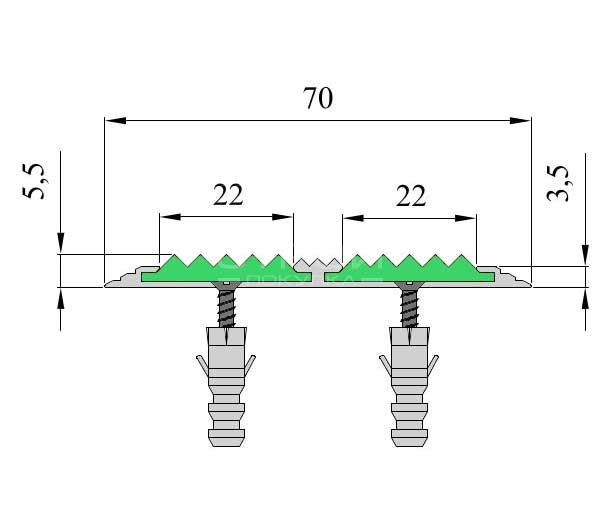 Размер накладки анодированной на порог с вставками — Next АП70-2.