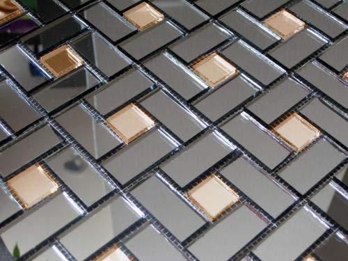 Золотая с серым зеркальная мозаика DG42 Deco на сетке.