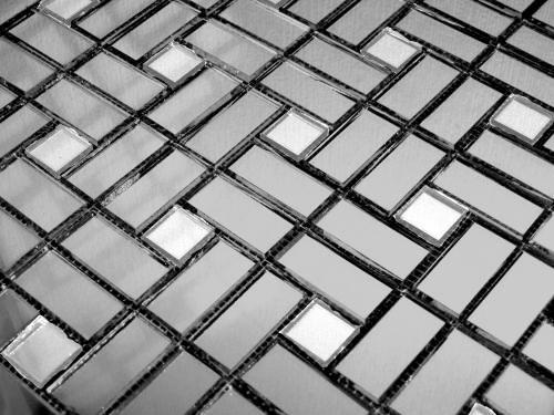 Зеркальная серо-серебряная мозаика  DS42-2 Deco