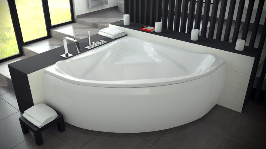 Ванна акриловая угловая с сиденьем Ewa 134 польского производства.