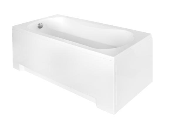 Белая маленькая акриловая ванная Aria 130 - фото сбоку.