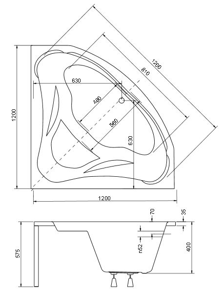 Схематические размеры ванны Mia Besco.