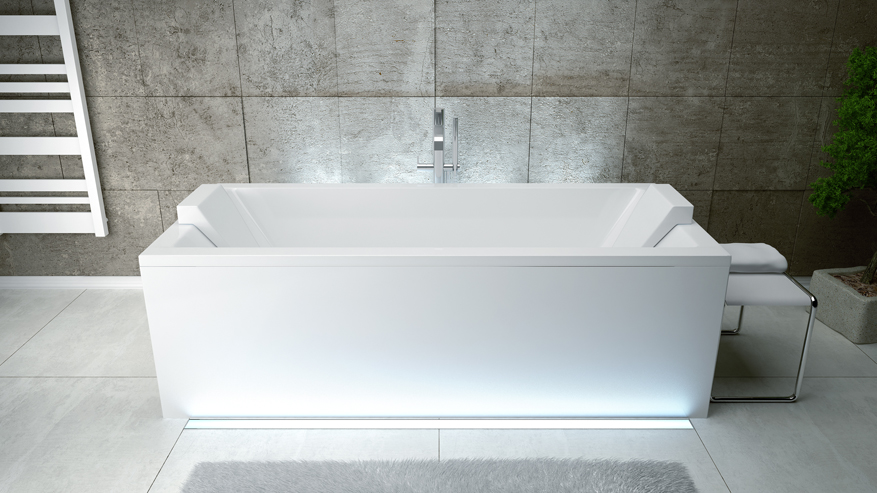 Акриловая ванна Besco Quadro с подголовниками с обеих сторон.