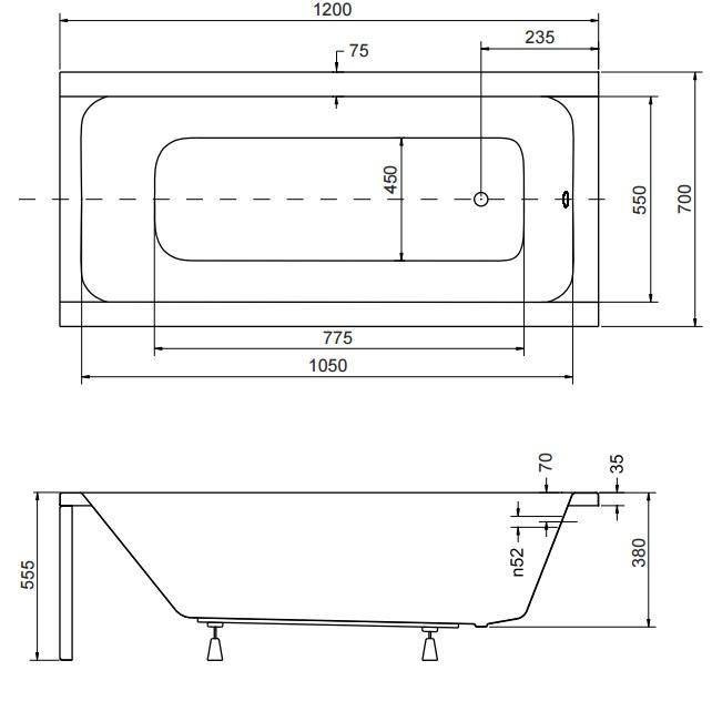 Технические размеры ванной Besco Modern 120