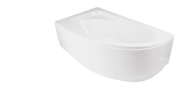Ванна с скругленным углом Cornea Besco имеет сиденье.