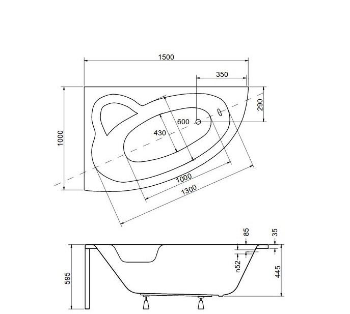Размеры ассиметричной ванны Natalia 150 L