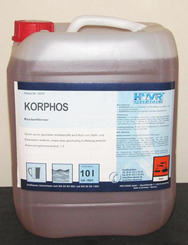 Фасовка в канистре 10 литров преобразователя ржавчины промышленного Korphos (Корфос).