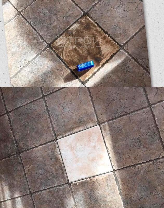 Пример очистки плитки очистителем для полов All Forte.