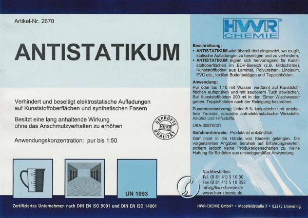 Этикетка антистатического очистителя Antistatikum для синтетических и пластиковых поверхностей, ковровых покрытий.