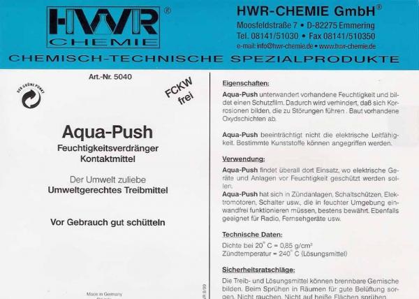 Этикетка аэрозоля для защиты электрики от влаги и от коррозии Aqua Push.