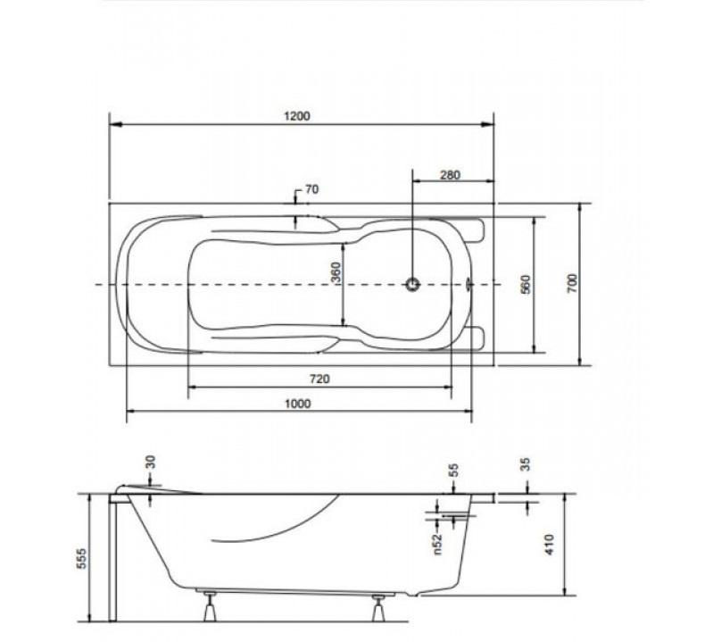 Технические размеры ванной Besco Majka Nova  120.