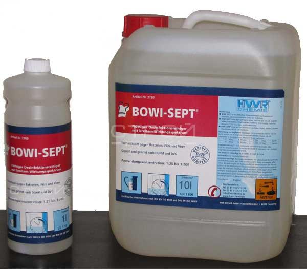 Возможная фасовка средства для дезинфекции помещений Bowi-Sept в канистрах по 1 и 10 литров.