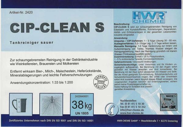Этикетка кислотного очистителя питьевых танков (ёмкостей) CIP-Cean S.