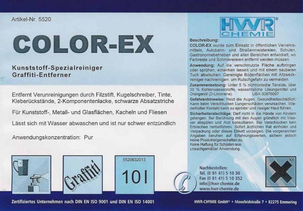 Этикетка средства для  очиститель для удаления краски и надписей граффити Color-EX.