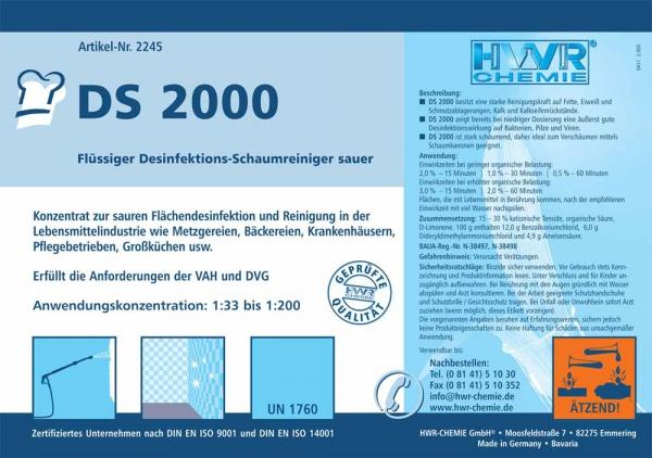 Этикетка кислотного моющего средства для пищеблока  DS 2000  - пенный очиститель для пищевых отраслей.