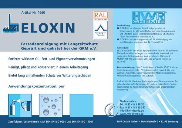 Этикетка очистителя фасадов Eloxin с защитой металлических частей от ржавчины.
