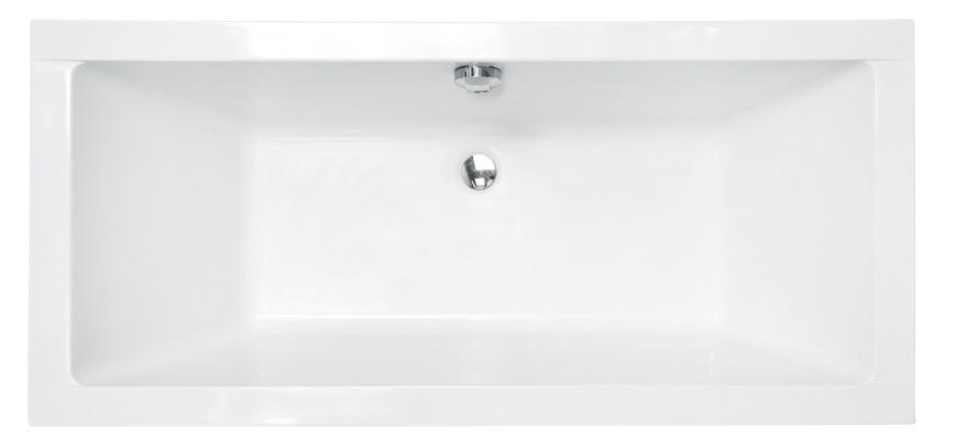 Акриловая ванна Besco Quadro с подголовниками  - вид сверху.