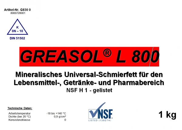Смазка для пищевой промышленности Geasol L800 для отраслей фармацевтики и индустрии.