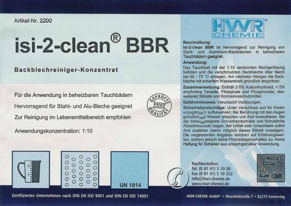 Этикетка концентрат а для очистки противней Isi-2-clean-BBR.