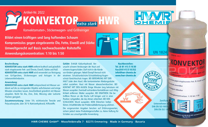 Этикетка очистителя гриля Konvektor extra stark для гриля, протвиней, вытяжек, оборудования пекарен и мясоперерабатывающих предприятий.