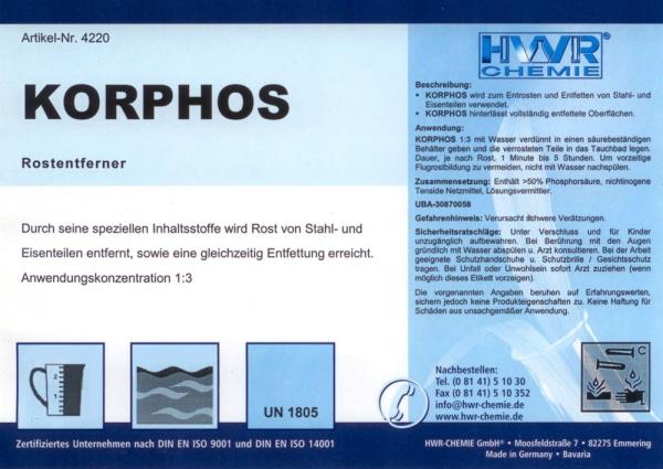 Этикетка преобразователя ржавчины промышленного Korphos (Корфос).