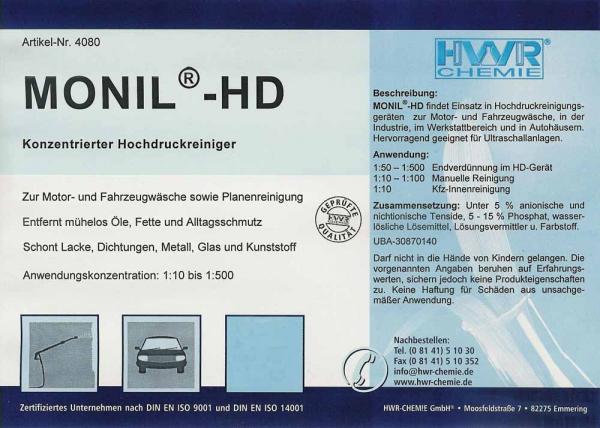Этикетка средства для мойки машин Monil-HD очистителя высокого давления.