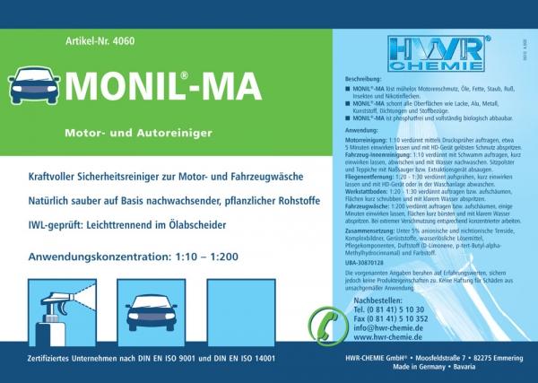 Этикетка очистителя моторов Monil-MA для внутреннего и внешнего ухода за машиной.