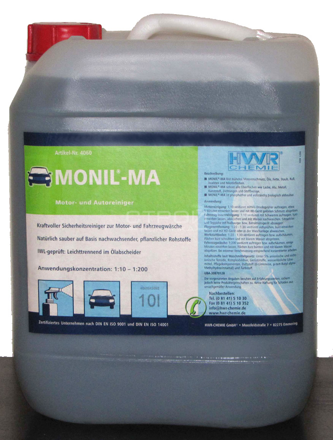 Канистра очистителя моторов Monil-MA для автомобильных двигателей.