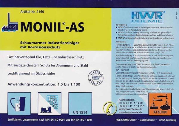 Этикетка средства для поломоечных машин Monil-AS (Монил АС)  с антикоррозионным действием.