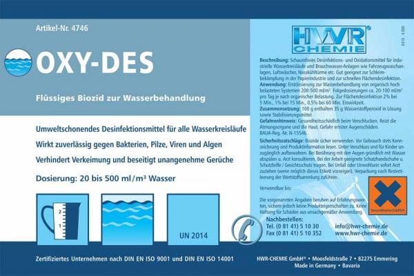 Средство обработки воды OXY-DES для удаления из воды вредных микроорганизмов, грибков и вирусов.