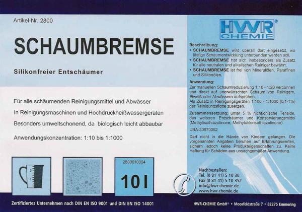 Этикетка пеногасителя для моющих средств Schaubremse  для стоков, очистных сооружений и приборов высокого давления.