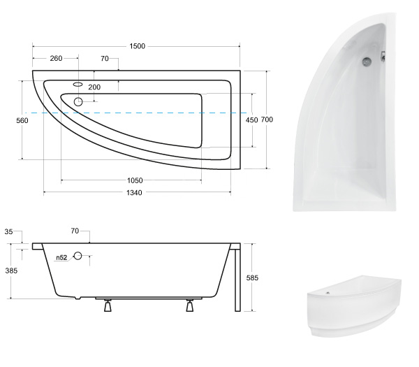 Размеры ванны Praktika Besco 150х70 см, Ориентация: правая