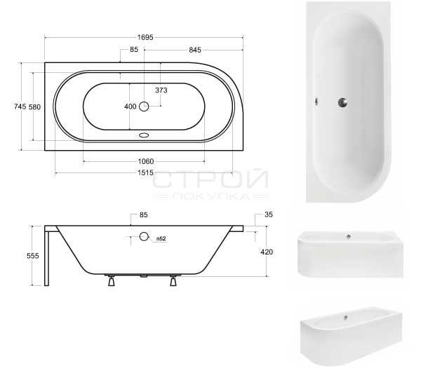 Размеры акриловой ванны Besco 170.