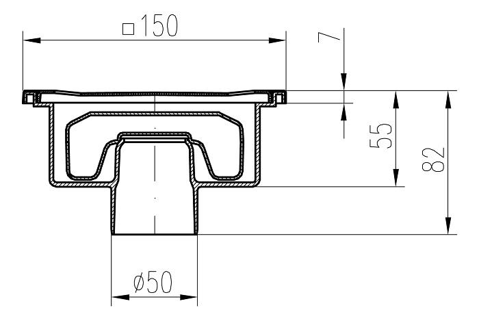 Схематические размеры трапа с нижним прямого сливного трапа DN 50/82 XN.