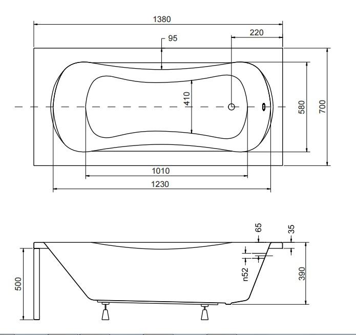 Размер ванны Aria 140х70 см