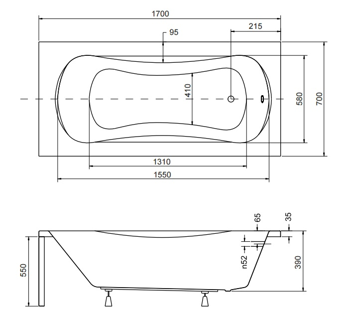 Размер ванны Aria 170х70 см